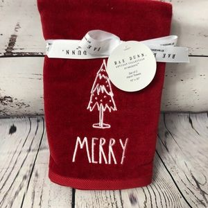 Rae Dunn MERRY Christmas Tree Hand Towels Red x 2